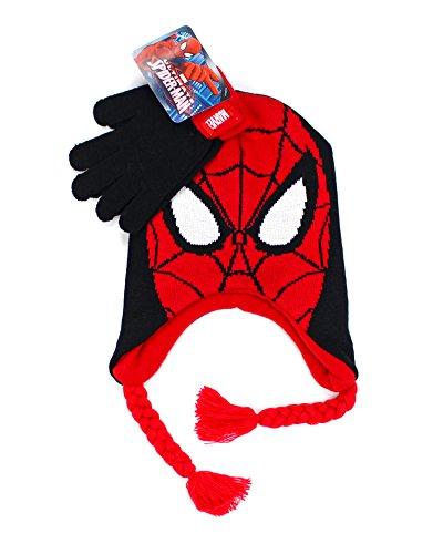 SPIDERMAN KNIT HAT BEANIE & HAT GLOVE MITTEN SET MANY STYLES (Hat Glove Set, Red Spider)