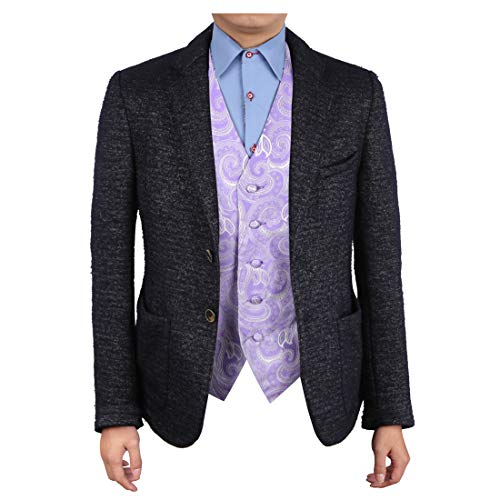 - Epoint EGC1B01A-S Medium Purple Patterned Casual Mens Waistcoat Woven Microfiber Beautiful Goods Small Vest