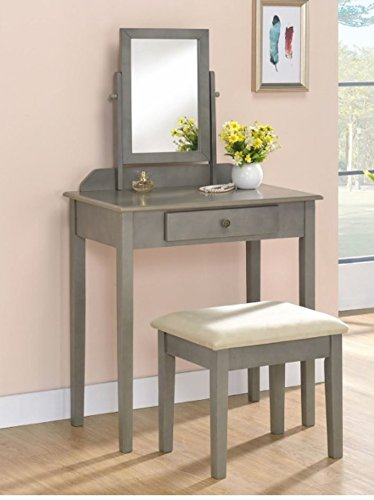CM Grey Wood Vanity Set with Tilted Mirror and Bench CROWN MARK