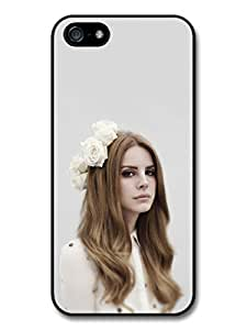 Lana Del Rey Flowers on Head Portrait Singer Popstar case for iPhone 5 5S A648 hjbrhga1544