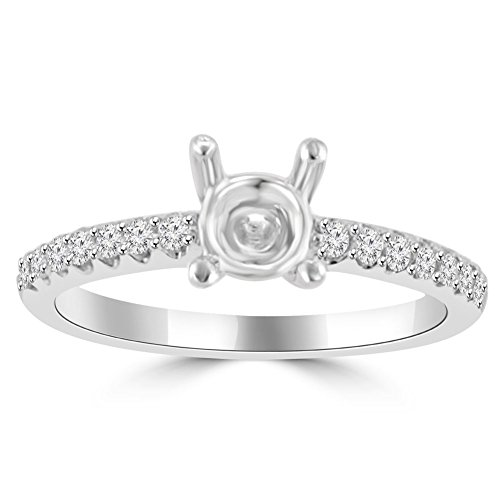 0.35 ct Ladies Round Cut Diamond Semi Mounting Engagement Ring in 14 kt White Gold In Size 6 14k Ring Mounting