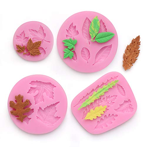 Sugar Maple Leaf - Leaf Fondant Mold, Beasea 4pcs Maple Pattern Mold Candy Chocolate Cake Decorating Molds for Sugar Craft Polymer Clay