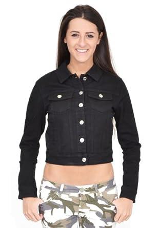 Ladies Womens Black Fitted Stretch Denim Jacket (8): Amazon.co.uk ...