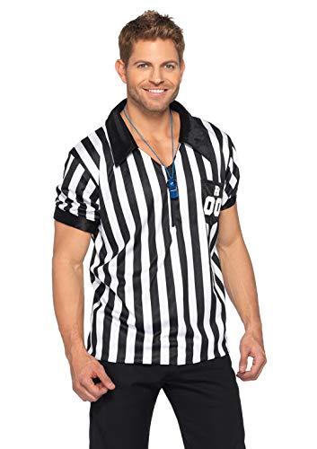 Nfl Referee Costume (Leg Avenue 2pc. Men's Referee Shirts w/Whistle, Black/White,)