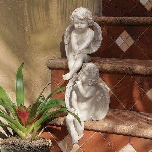 2 Angel Statues - Classic Winged Angel Cherub Collection Statue Sculpture Figurine - Set of 2