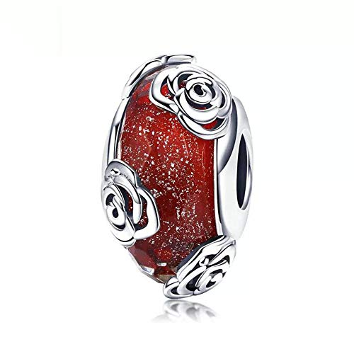 Murano Glass Charms Bead Sterling Silver Core for European Charm Bracelets Flower … (Rose Glass Charm) ()
