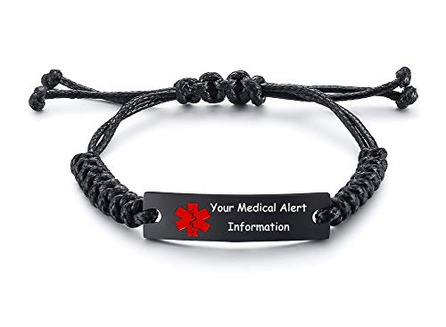 XUANPAI Personalized Custom Engrave Stainless Steel Braided Rope Cord Medical Alert ID Bracelets Men Women Adjustable