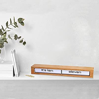 24 inches Wide Battery Operated Digital Display Bamboo and White Cloudnola Textime Wood Wall and Tabletop Flip Clock and Wall Decor