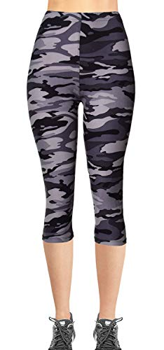 Camouflage Gray - VIV Collection Plus Size Printed Brushed Buttery Soft Capris (Gray Army Camouflage)