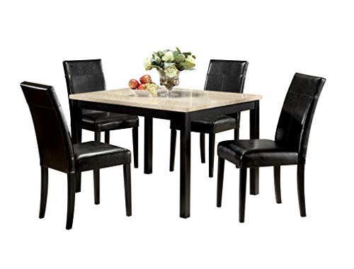 - Major-Q 5Pc Pack Transitional Style Finish Set with White Faux Marble Top Dining Table and Black PU Cushion Side Chairs, 9006776
