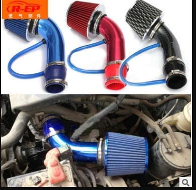 76mm//3inch Aluminum Alloy Universal Car Cold Air Intake Pipe Tube Hose Kit Filter System EBTOOLS Air Intake Pipe Silver