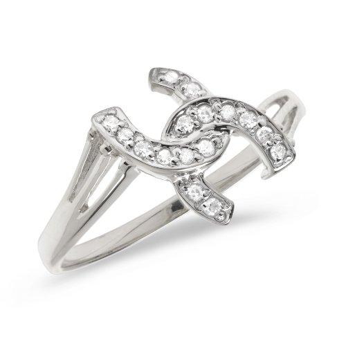 Diamond Ring Ladies Horseshoe (10K White Gold Diamond Horseshoe Ring (Size 5))