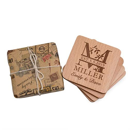 Personalized Monogram Beech Wood Coasters for Drinks - Personalized Wedding Gifts Bridal Shower Gifts - Custom Coasters… |