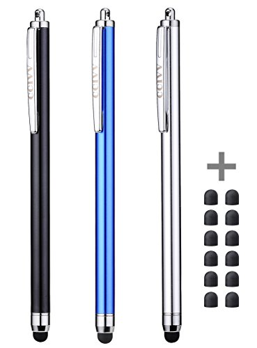 CCIVV 3 Pcs Stylus Pens for Touch Screens [0.24-inch Tip Series] + 12 Extra Replaceable Rubber Tips (Black/Silver/Dark Blue) (Galaxy Tab Pro 8-4 Vs Ipad Air)
