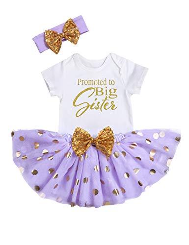 Toddler Little Kid Girl Skirt Polka Dot Tutu Tulle Dress+Big Sister T-Shirt+Bowknot Headband Summer Outfits Clothes Set (P-Purple, 6-12 - Top Dot Mesh Polka Printed
