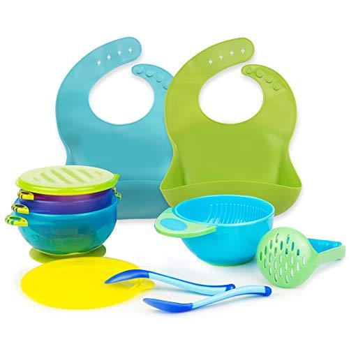 Baby Feeding Set Silicone Bib Plate Suction Bowl Soft Heat Sensitive Spoons Mash Bowl Self Feeding Set Adjustable Bib Easily Wipe Clean Perfect Infant Baby Toddler Shower Gift