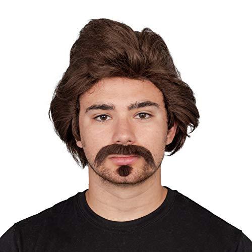 Halloween Costume Accessory Dark Hair Mustache and Goatee Brown ()
