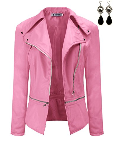 Oioninos Women Leather Jacket Slim Punk Bomber Casual Zipper Short (Classic Leather Bomber)