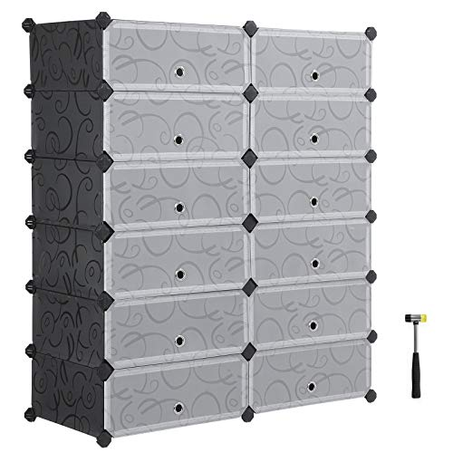 (SONGMICS 6-Tier Shoe Rack, Space Saving 24-Pair Plastic Shoe Units with Doors, Modular Cube Storage, Ideal for Entryway Hallway Bathroom Living Room, 32.7 L x 14.2 W x 41.3 H Inches Black ULPC26HV1)