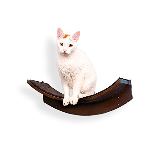 The Refined Feline Lotus Leaf Cat Shelf, Mahogany