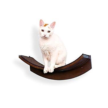The Refined Feline Lotus Leaf Cat Shelf, Mahogany