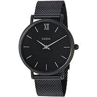 CLUSE Minuit Mesh Full Black CL30011 Women's Watch 33mm Stainless Steel Strap Minimalistic Design Casual Dress Japanese Quartz Elegant Timepiece