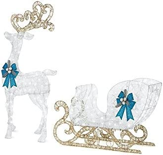 Home Accents Holiday 65 in. LED Lighted White Reindeer and 46 in. LED Lighted White Sleigh with Blue Bows 1