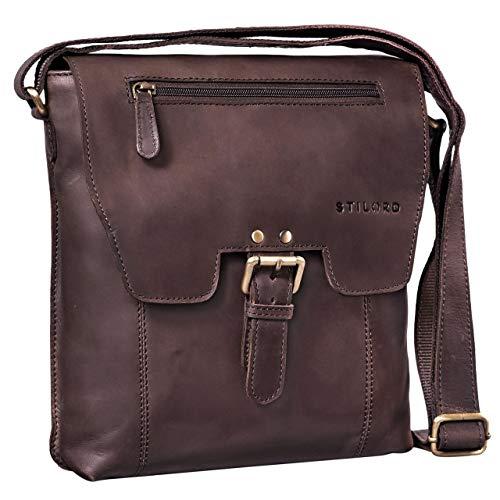 2e80ed6fab15e7 STILORD 'Rico' Vintage Herren Umhängetasche echtes Leder Messenger Bag 10.1  Zoll Tablet-Tasche mittel-große Schultertasche für Männer Echtleder, ...