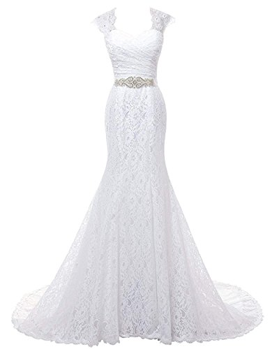 SOLOVEDRESS Women's Cap Sleeves Lace Mermaid Wedding Dress 2018 Bridal Evening Dress Prom Gown White US16