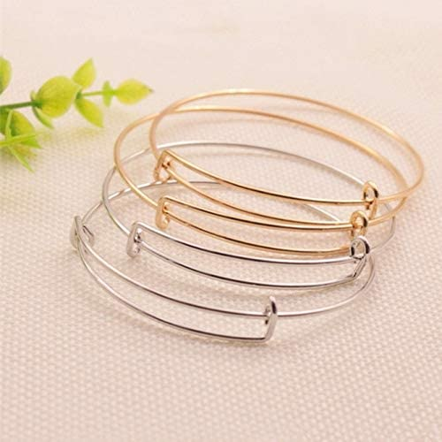 Silver 18PCS Expandable Bangle Bracelet Gold and Rose Gold Adjustable Wire Blank Bracelet Expandable Bangle for DIY Jewelry Making
