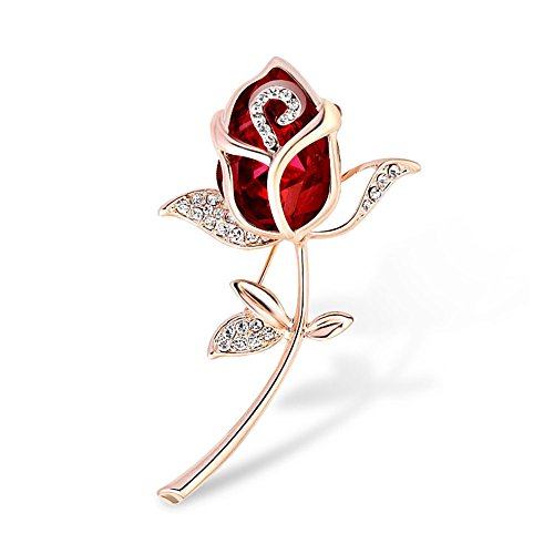 Swarovski Pink Vintage Brooch - LuckyJewelry Swarovski element Crystal Rose Flower Shape Shining Brooches and Pins Bridal for Women Lady (Pink)