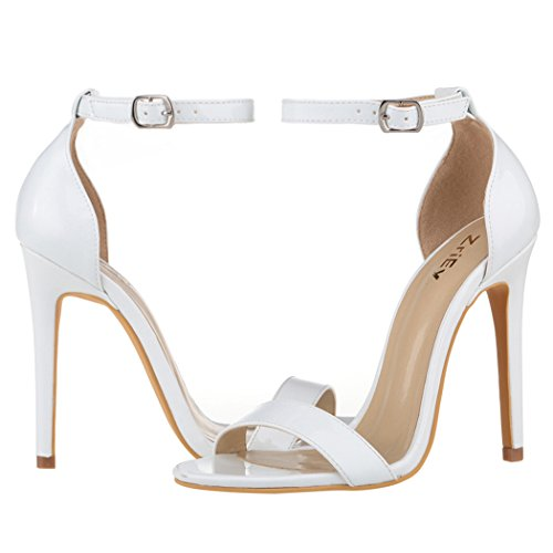 11CM Sandals Ankle Strap Women's White Shoes High Heeled Heels Dress ZriEy Stilettos qEfgzw