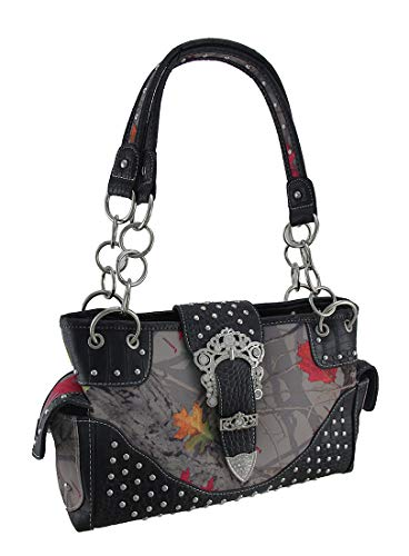 (HotLeaf Camo Rhinestone Buckle Studded Concealed Carry Purse)