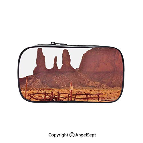 Two Big Pockets for Executive Fountain Pen,Scenic Archaic Monument Valley on Western Desert Odd Formation of Rock and Cliff Print Tan 5.1inches,Multi-Functional 72 Slots Colored Pencil Case -