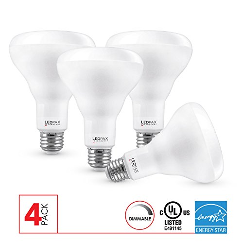 BR30 LED Light Bulbs Dimmable, 9W (65W equivalent), 3000K, 650 Lumens, (4 Pack), UL Listed, Energy Star Certified