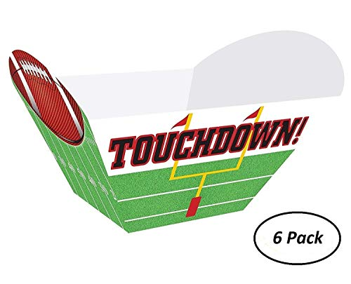6 Pack of Football Touchdown Snack Bowls for popcorn,chips,pretzels, etc.