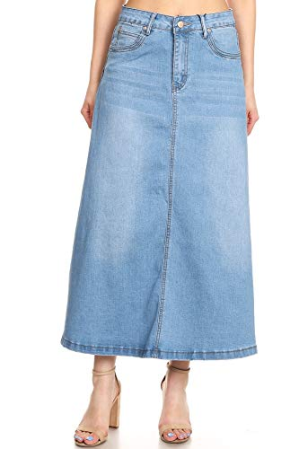 Women's Juniors Mid Rise A-Line Long Jeans Maxi Denim Skirt in Light Blue Size XL