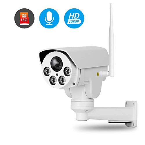 (Sstcam Full HD 1080P WiFi IP Wireless Security Cameras Outdoor Waterproof Pan Tilt Zoom PTZ Camera with Built-in 16G Micro SD,Night Vision,for iOS/Android Phone,Model A76WT20-3-FA)