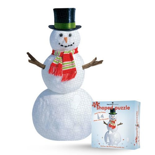 Jigsaw Shaped Puzzle 27 by 27-Inch, Snowman (500 Piece)