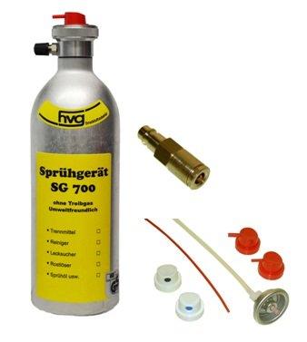 Wiederbefüllbare Druckluft Spraydose / Sprühdose 500 ml mit Sprühköpfen und Füllstutzen