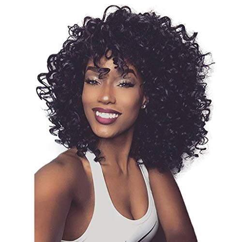- Hunputa Short Afro Kinky Curly Hair Wig Human Hair Wigs Natural Looking Brazilian Virgin Wig with Free Cap African Fluffy Curly wig for Black Women