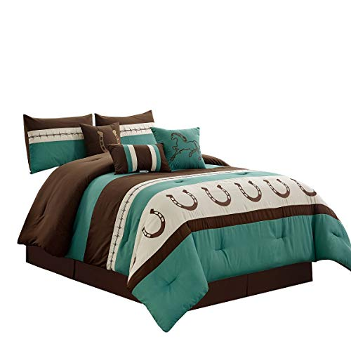 WPM WORLD PRODUCTS MART 7 Piece Rustic Comforter Set. Brown/Beige/Teal Horseshoe, Horse, Barb Wired Embroidered Bed in a Bag Western Cowboy Bedding Set- JENA (Teal, Queen) (Bed Western)