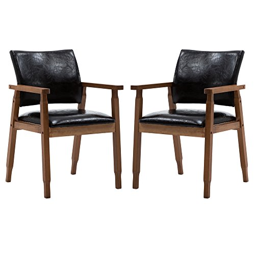 (NOBPEINT Mid-Century Dining Side Chair with Faux Leather Seat in Black, Arm Chair in Walnut,Set of 2)
