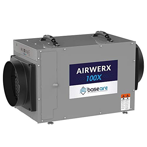 BaseAire AirWerx100X Whole House Dehumidifier, Removal 100 Pints at AHAM, 15.7 Gallons, 5 Years Warranty, cETL Listed, Remote Control, Crawl Space & Basement Dehumidifier with a Pump, Gray (Best Whole House Dehumidifier)