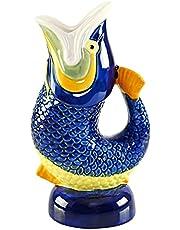 "HOME-X Decorative Ceramic Fish Glug Jug, Table Centerpiece, Wine Carafe and Pitcher, Gurgling Fish Pitcher, Water Pot, Ceramic Decor, 9"" L x 5"" W x 3 ¾ "" H, Multi-Colored"