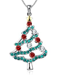 Christmas in The air Christmas Tree Pendant Necklace Gifts for Girls Daughter Wife Mother Crystals from Swarovski