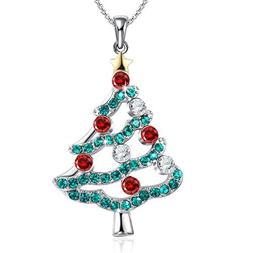 GEORGE · SMITH Christmas Tree Pendant Necklace Gifts for Women Girls Daughter Crystals from Swarovski Box