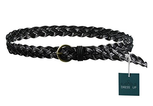 Dress It Up Women's Trendy and Comfortable Leather Braided Cinch Waist Belt, Black (Black Braided Leather Belt)