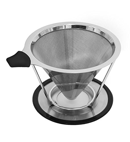 Stainless Steel Pour Over Cone Dripper Coffee Filter w Cup Stand  Reusable