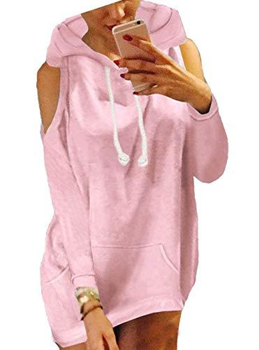 Tempo Donne Pink Fashion Elegante Colori Spalline Con Felpa Lunga Autunno Cappuccio Incappucciato Libero Manica Donna Pullover Vintage Felpe Senza Solidi Primaverile Classiche pWxw7Sgqv